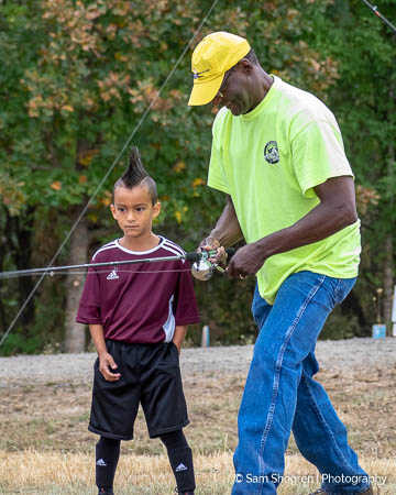 I'm Hooked Founder, Will Warren,  Teaches a Youth  How to  Cast During National Wildlife Urban Refuge Day at the USF&W Tualatin Wildlife Refuge